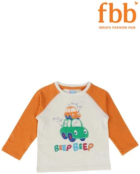 Pink & Blue Cotton Printed Top for Unisex Infants - White