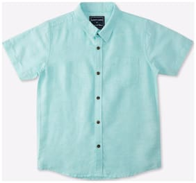 Pink & Blue Boy Blended Solid Shirt Blue