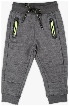 Pink & Blue Boy Blended Track pants - Grey