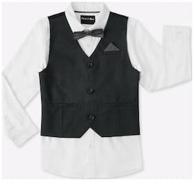 Pink & Blue Boy Cotton Solid Shirt White
