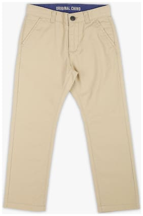 Pink & Blue Boy Solid Trousers - Beige