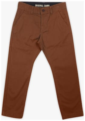 Pink & Blue Boy Solid Trousers - Brown
