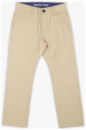 Pink & Blue Boy Solid Trousers - Beige