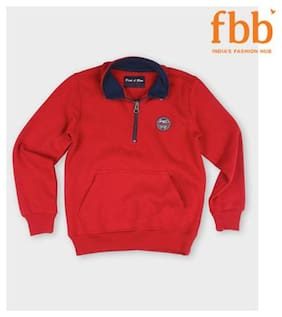 Pink & Blue Boy Cotton Solid Sweater - Red