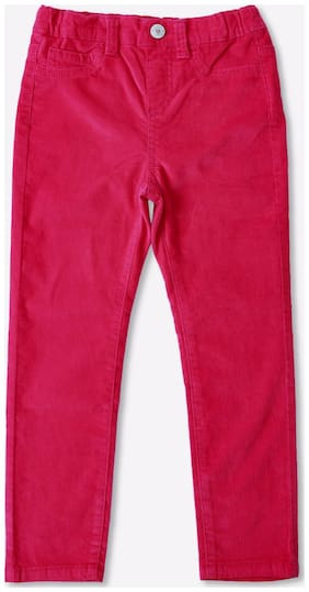 Pink & Blue Girl Cotton Blend Trousers - Red