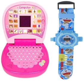 Pink Mini Display Kids Learning Laptop And Doremon 24 Image Projector Watch.