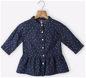 Pink & Blue Girl Cotton Printed Top - Multi
