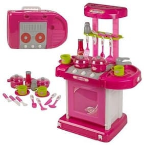 Pink Plastic Portable Kitchen Set with Lights