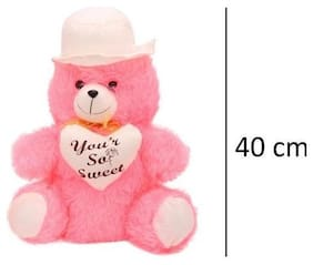 Pink & white Cap teddy Bear 40 cm