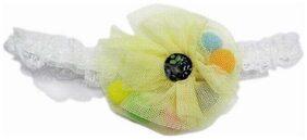 Pinkblue India Lovely Yellow Flower Baby Headband In Net