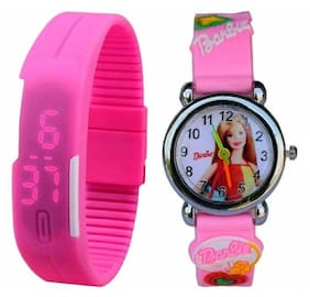 Pink led and Barbie watch for kids