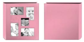 Pioneer Collage Frame Embossed Baby Sewn Leatherette Cover Photo Pink