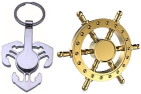 Pirate wheel Brass & Anchor Shining Chrome Pendent Fidget Keychain Hand Spinner Toy-Combo
