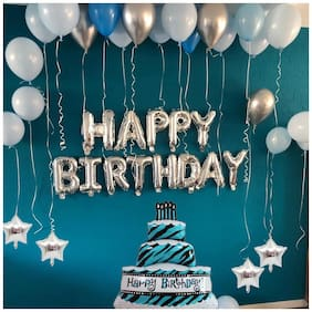 Pixelfox Happy Birthday Silver (13 Letter)Foil+ Cake Foil+ 4 Star Foil (5 Inchs)(Silver)+ 30 pcs Balloons (Silver;Sky Blue;Dark Blue)
