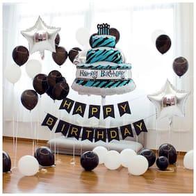 Pixelfox Happy Birthday Black Banner+ Cake Foil+ 2 Star Foil( 18 inch )(Silver)+ 30 pcs Balloons (Black;White)
