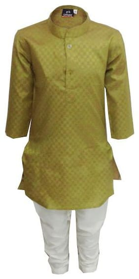 P.K.GARMENTS Boy Cotton blend Solid Kurta pyjama set - Green & White