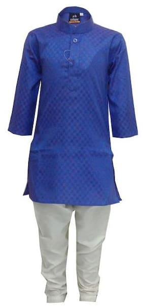 P.K.GARMENTS Boy Cotton blend Solid Kurta pyjama set - Blue & White