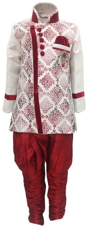 P.K.GARMENTS Boy Polyester Printed Sherwani - Maroon