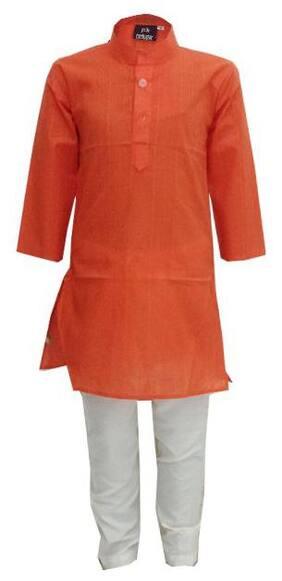 Orange;White Kurta Pyjama Set