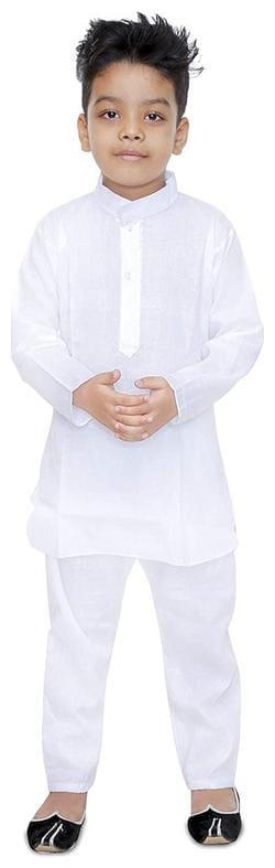 PK Hub Boy Cotton Solid Kurta pyjama set - White