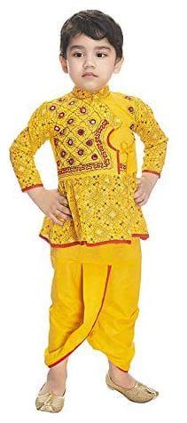 PK Hub Boy Cotton Embellished Dhoti kurta - Yellow