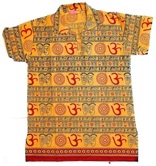 PK Hub Boy Cotton blend Printed Kurta - Yellow