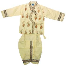 PK Hub Cotton Embroidered Beige Color Dhoti Kurta Set For Boy