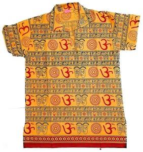 PK Hub Boy Cotton blend Printed Kurta - Yellow
