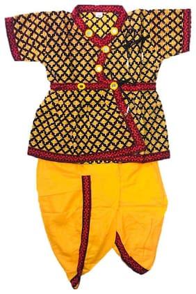 PK Hub Boy Cotton Printed Dhoti kurta - Yellow