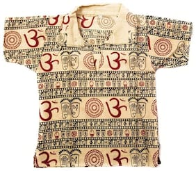 PK Hub Boy Cotton blend Printed Kurta - Beige