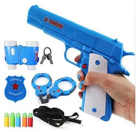 Planet of Toys Police Gun Set for Boys,Girls,Kids | Police Toy Play Set with bullets   (Blue)