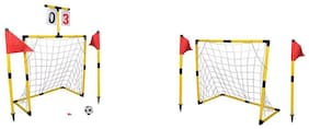 PLANET OF TOYS Football Sports World 8Pcs Goal Post with 1, 16cm ball, 1 whistle and 4pcs flags