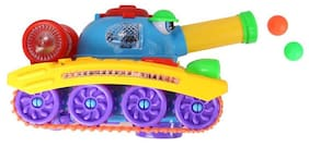 Planet Of Toys Lights And Music Army Tank (Shoots Ball, 360 Degree Wheel Rotation)