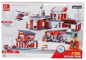 Planet Of Toys Fire Rescue Team Building Blocks (558 Pcs) For Kids / Children