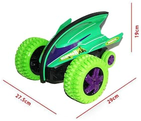 Planet of Toys remote control 360 degree rotation car   crazy off-road gyro remote control stunt action car high speed for kids,boys & children - green- Multi color