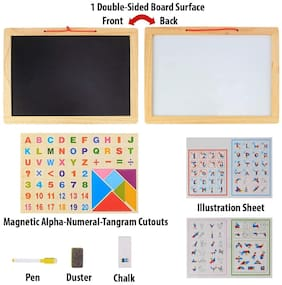 Planet of Toys Magnetic Whiteboard & Black Slate with Alphanumeric with Double Sided Wooden Frame,Mathematical Signs and Tangram (Educational Learning Toy)