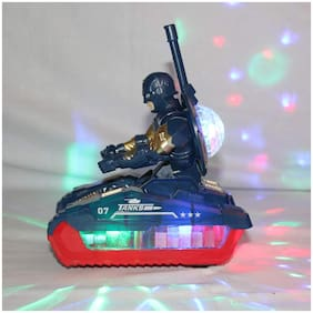 Planet of Toys Boys and Girls Electric Soldier Tank with Light,Music for Kids