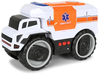 Planet of Toys Friction Powered Rescue Ambulance Car Vehicle for Kids with Light & Sound
