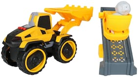 Planet of Toys Friction Powered Construction Shovel Bulldozer Truck with accessories Toy Set for Kids with Light & Sound
