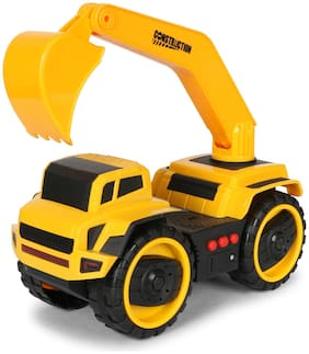 Planet of Toys Friction Powered Excavator Construction Shovel Truck Toy with Lights and Sounds For Kids