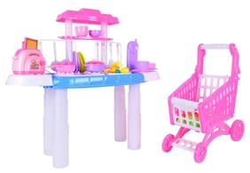 Planet Of Toys Kitchen And Shopping Trolley Set (90+ Pieces)