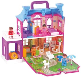 Play Pacific Doll House Dream Palace with Furniture Set LED Light and Complete Backyard - 40 pcs