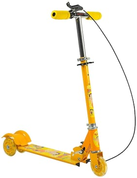 Play Pacific 3 Wheel Foldable Scooter Cycle with Height Adjustment & Led Light on Wheel(Break and Bell) (Multicolor)