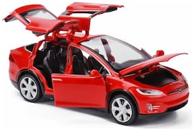 Play Pacific 1: 32 Alloy Tesla X90 Pull Back Metal Car with 6 Door Open, Sound Light (Red)
