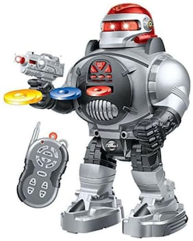 play pacific Remote Control Robot Space Fighter - Fires Discs, Dances, Talks - Super Fun RC Robot