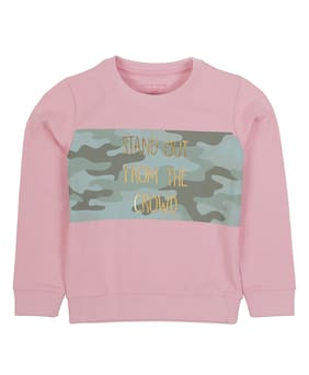PLUMTREE Girl Cotton Printed Sweatshirt - Pink