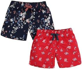 Blue;Red Regular Shorts Shorts