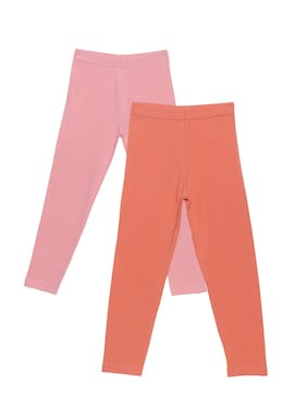 PLUMTREE Cotton Solid Leggings - Pink & Orange