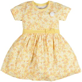 PLUMTREE Yellow Cotton Short Sleeves Above Knee Princess Frock ( Pack of 1 )