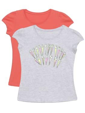PLUMTREE Girl Cotton Printed T shirt - Red & Grey